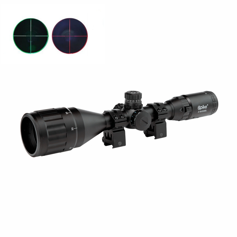 3-9X50AOL Hunting Tactical Optics Riflescope Airsoft Air Guns Scopes Green/Red Dot Illuminated Sniper Pistol Reflex Rifle Sight 3 9x40 hunting optics riflescope red green dot laser illuminated sight scope chasse tactical rifle airsoft air guns rifle scopes