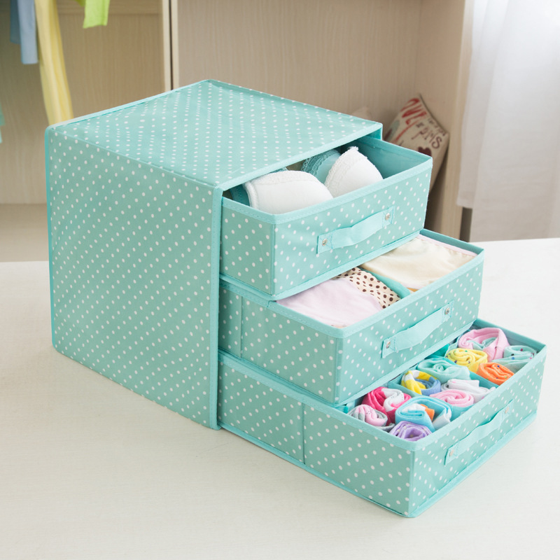 31*31*32cm Underwear Drawer Organizer 3 Layer Dots Printed Bra Socks Storage Box Closet Organizers Clothing & Wardrobe Storage