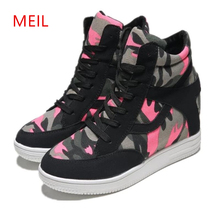 Chunky Platform Trainers Women Vulcanized Shoes Sneakers High Hidden Heels Canvas Elevator Wedges Camo Top