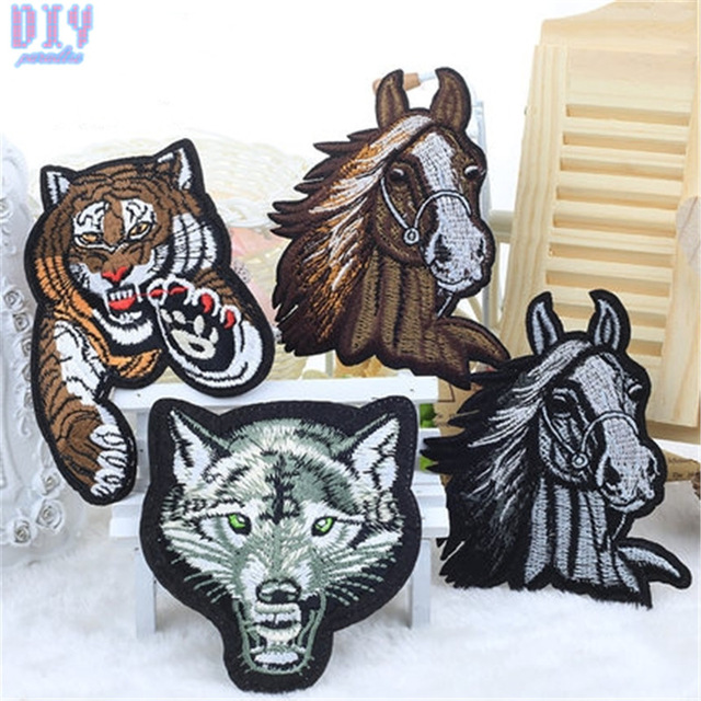 Lace Animal Tiger Wolf Sew Iron On Patches Embroidered Cloth Applique Horse Badge Fabric Apparel Sewing Crafts DIY