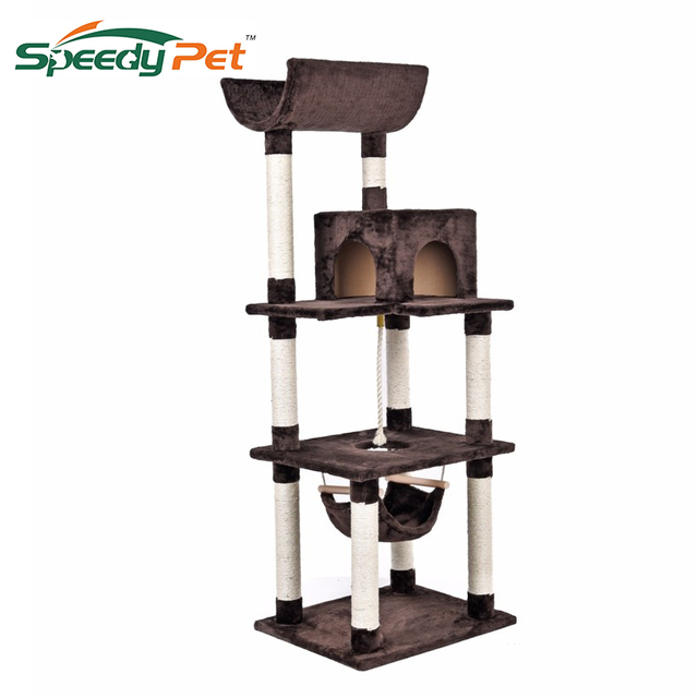 f1b7939d0320 Luxury Cat Scratching Post Toy Cat Tree Brown/Gray Cat Scratcher House For  Cat Toys