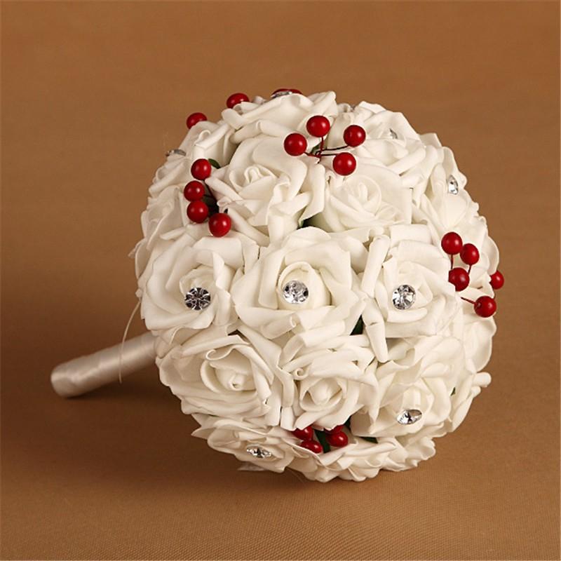 Artificial Cherry Decoration Bridesmaid Flower Wedding Bouquet Artificial Buquet de noivas Handmade Rose Crystal Bridal Bouquet  (5)