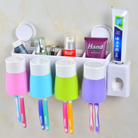 Seamless Creative Wall with Four Double Sucker Wash Toothbrush Holder Sets Automatic Toothpaste Dispenser with Cups