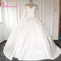 Real Photos Gorgeous Ball Gown White Wedding Dresses Long Sleeves Sweetheart Illusion Back Princess Wedding Gowns