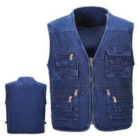 New 2018 Men's vest jacket Photography Denim Vest mens sleeveless jacket vests vests male with many pockets plus size XL XXXXXL