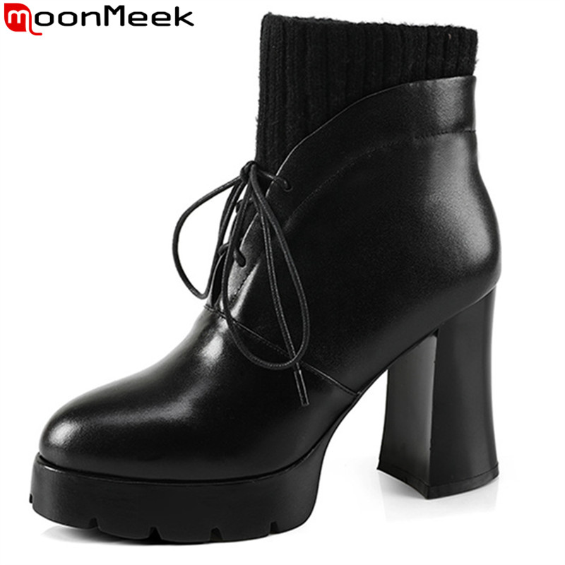 MoonMeek fashion new arrive women boots black genuine leather ladies boots round toe lace up cow leather ankle boots platform ladies casual lace up flat ankle boots fashion round toe plain cow leather boots for women female genuine leather autumn boots