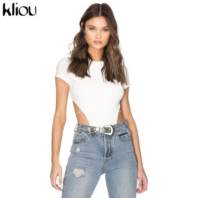 Kliou Women Sexy Bodysuit Backless Lace Up Rompers 2019 Summer Fashion Short Sleeve Solid Black White Playsuit Vacation Clothes