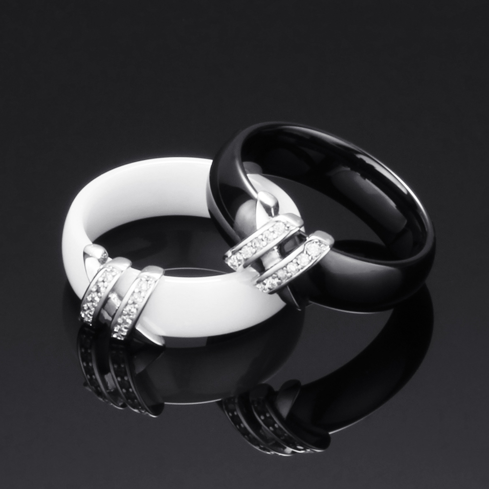 Best 6mm High Quality Black And White Simple Style Two Line Crystal Ziron Ceramic Rings For Women Fashion Jewelry Gift 6