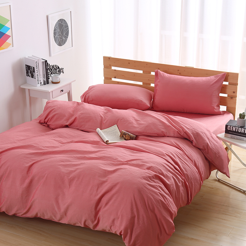 100% cotton cartoon solid pink beddingset duvet cover bed sheet pillowcases