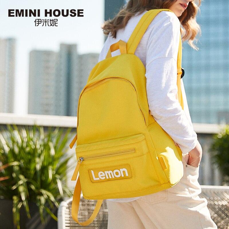 EMINI HOUSE Letters Women Backpack Multifunction Nylon Backpack Women Shoulder Bag Backpacks For Teenage Girls School