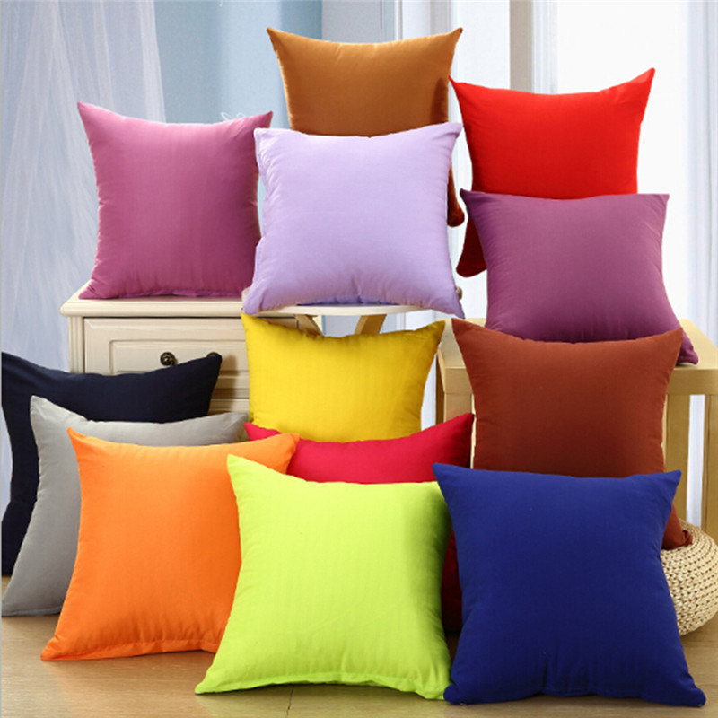 New Cheap Cotton Cushion Cover 44*44cm Square Pillowcase Candy Color Home Hotel Office Decorative Pillow Case