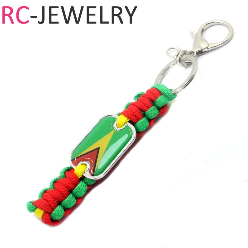 46# Guyana flag Outdoor Survival Kit Parachute Cord Keychain Military Emergency Paracord Rope Key Chain Ring