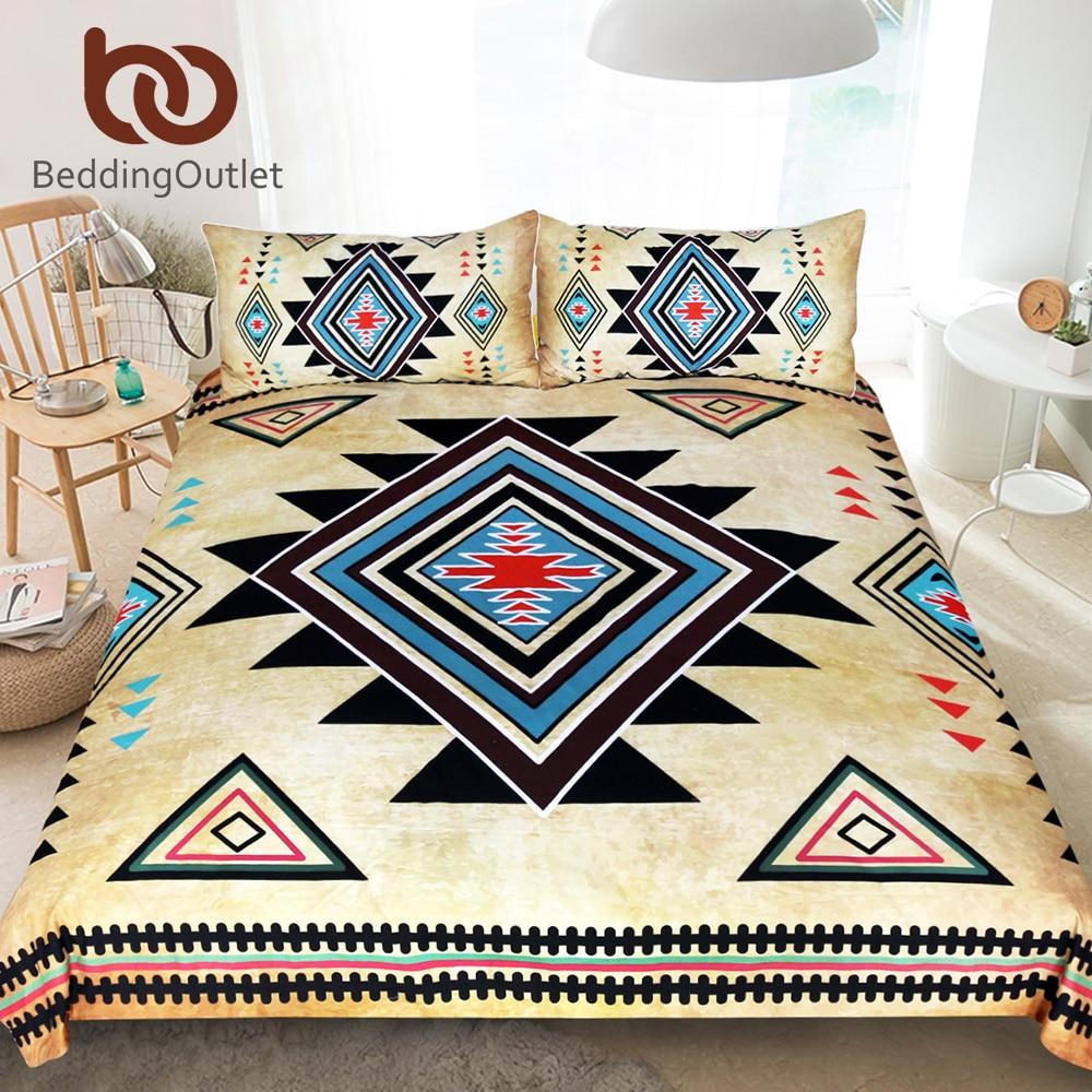 BeddingOutlet Geometric Printed Bedding Set Queen Size Duvet Cover Southwest Native American Bedclothes Aztec 3pcs Home Textiles