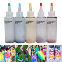 5 Bottle One Step Tie Dye Kit DIY Activated Dye 40 Rubber Bands 4 Pairs Vinyl