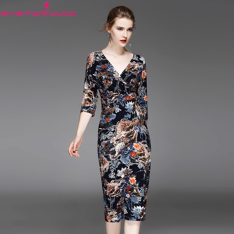 Women floral print Sexy V neck bodycon pencil velvet dress autumn casual work party ball dress office midi dresses vestido E7174 artsu casual bodycon knitted dress slim long sleeve sexy split button midi dresses women autumn winter party vestidos asdr30434