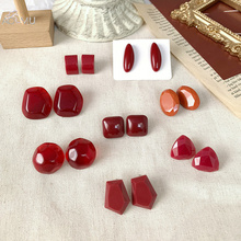 AOMU 2019 New Vintage Red Wine Acrylic Acetate Geometric Irregular Small Stud Earrings for Women Girl Jewelry Party Gift