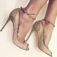 Charming Golden Glittering Crystal Stiletto Heels Fancy Mesh Lace Peep Toe Pumps Concise Women Line Buckle Style Shoes Hot Sell