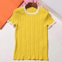 Женская Однотонная футболка лето 2019 o образным вырезом Женская футболка с коротким рукавом модная Новая женская рубашка Топы