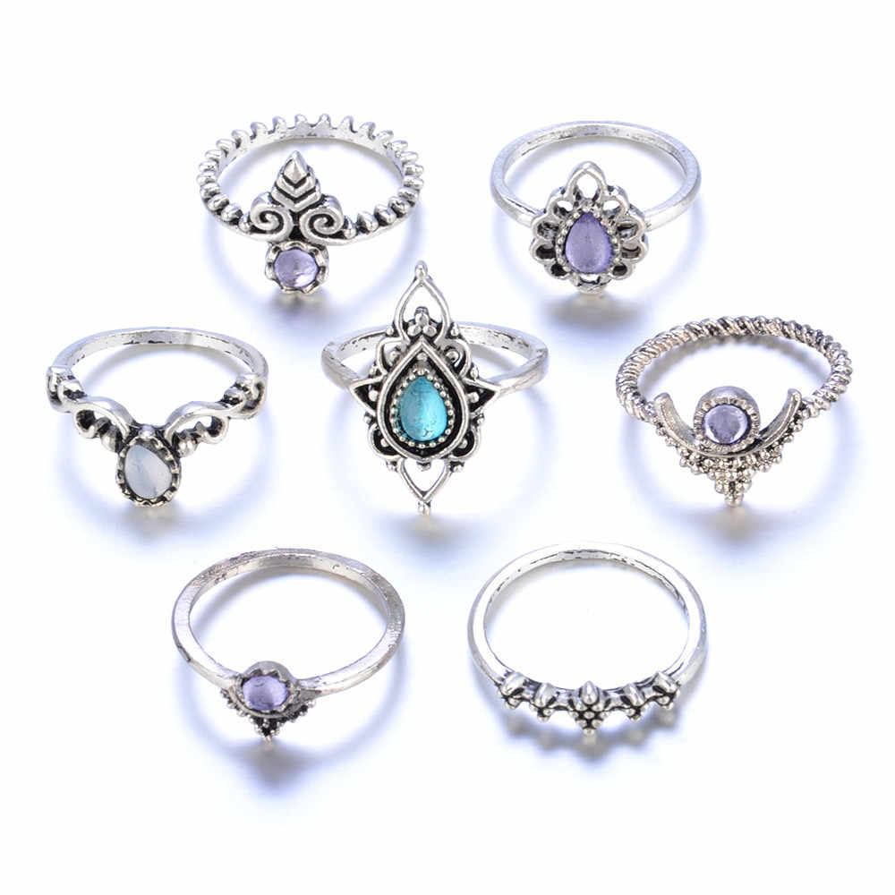 #5001 7pcs/Set Women Bohemian Vintage Silver Stack Rings Above Knuckle Blue Rings Set ring anillos New Freeshipping Hot sales