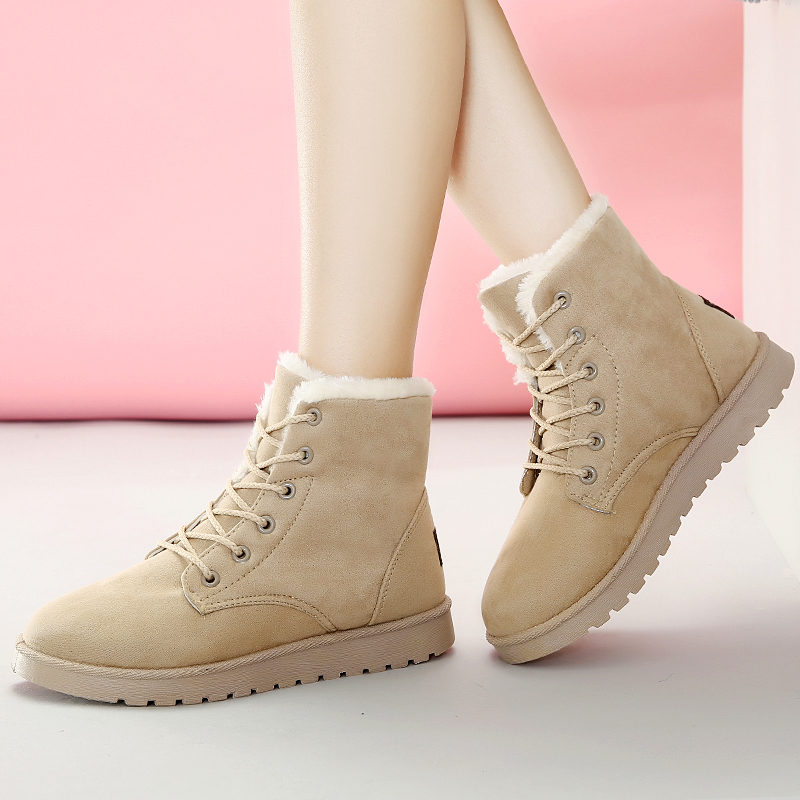 JACKSHIBO Women Winter Boots Suede Ankle Snow Boots Female Footwear Warm Fur Plush Lace up Boots Flats Heel Chaussure Booty designer women winter ankle boots female fur lace up snow boots suede plush sewing botas