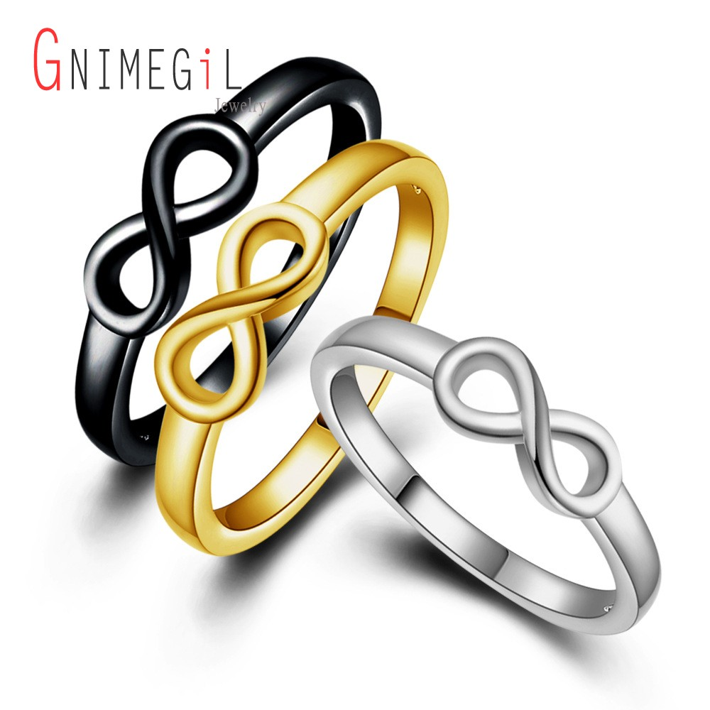 Gnimegil fashion silvergoldblack color infinity symbol eternity gnimegil fashion silvergoldblack color infinity symbol eternity ring for women gift endless love rings wedding party jewelry in wedding bands from jewelry biocorpaavc Gallery
