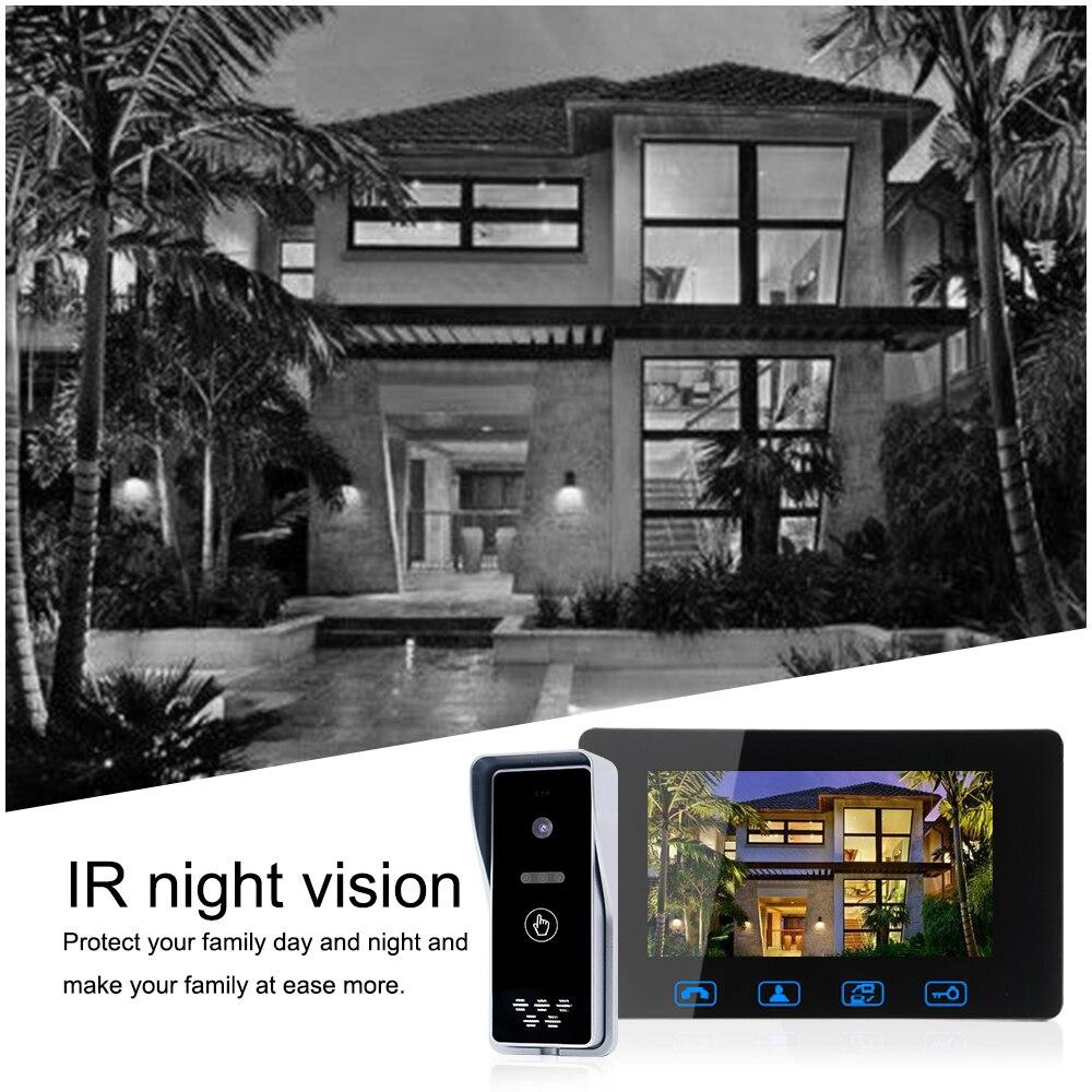 Telefone video da porta com fio 7 lcd a cores com à prova dwaterproof água digital campainha câmera espectador ir sistema de intercomunicação visão noturna - 4