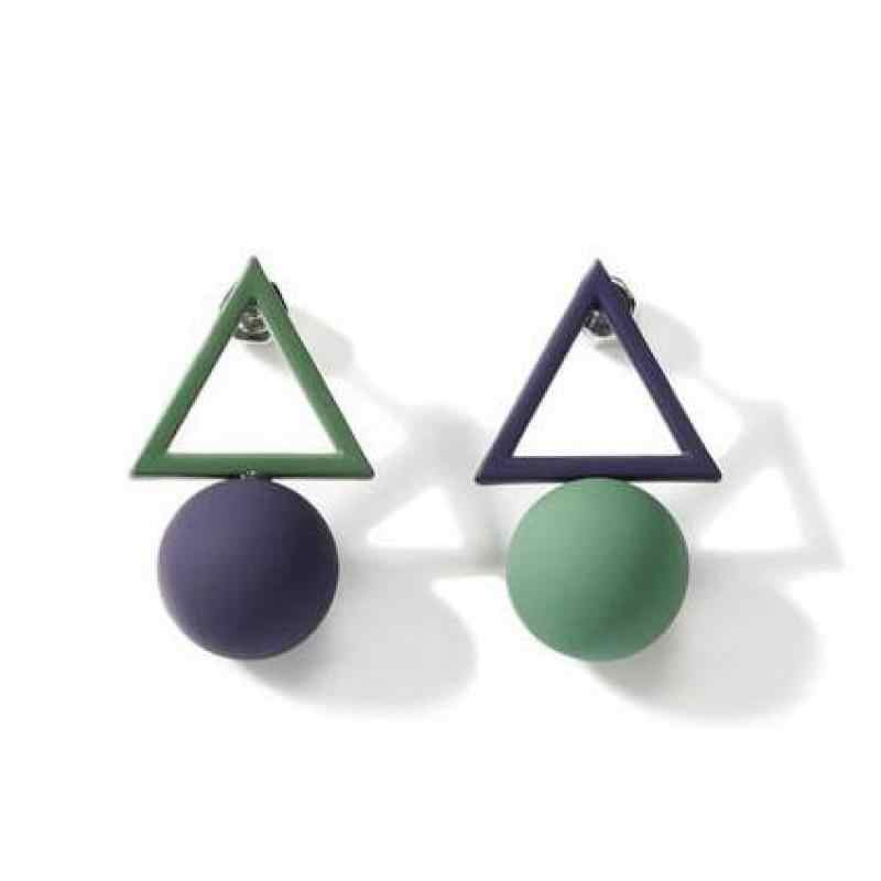 2018 New Round Hollow Ball Triangle Simple Korean Asymmetric Earrings Women's Velvet Gift Jewelry