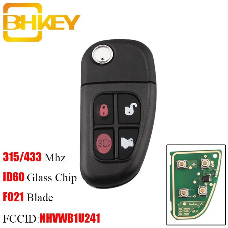 BHKEY 4Buttons Car Auto Flip Remote Key For Jaguar X-Type S-Type 1999-2009 XJ XJR 2002-2008 433MHz/315Mhz +4D60 Chip