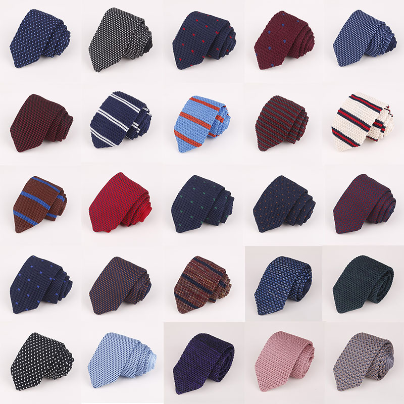 New Men's Knit Tie 7cm Pointed Tie Neckties Formal Dress Accessories Wedding Party Banquet Knitted Men Tie Daddy's Gift Neckwear