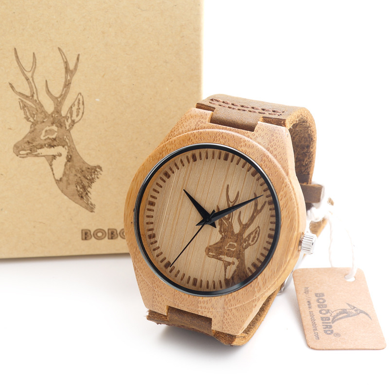 BOBO BIRD Top mærke Mænds Bamboo Wooden Watch Quartz Real Leather Strap Herre ure relojes finos de hombre
