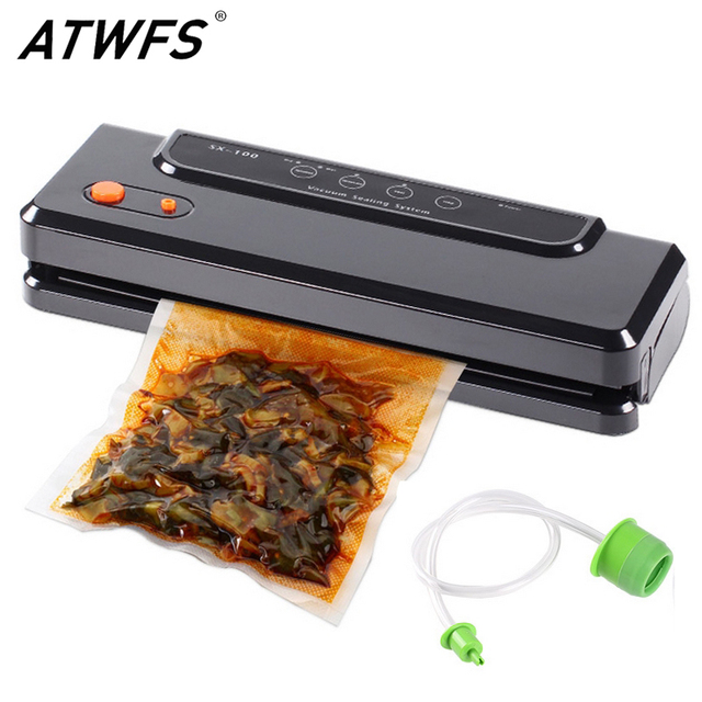 ATWFS Multi function Vacuum Sealing Machine Home Best Vacuum Sealer Fresh Packaging Machine Food Saver Vacuum Packer Bags 150W