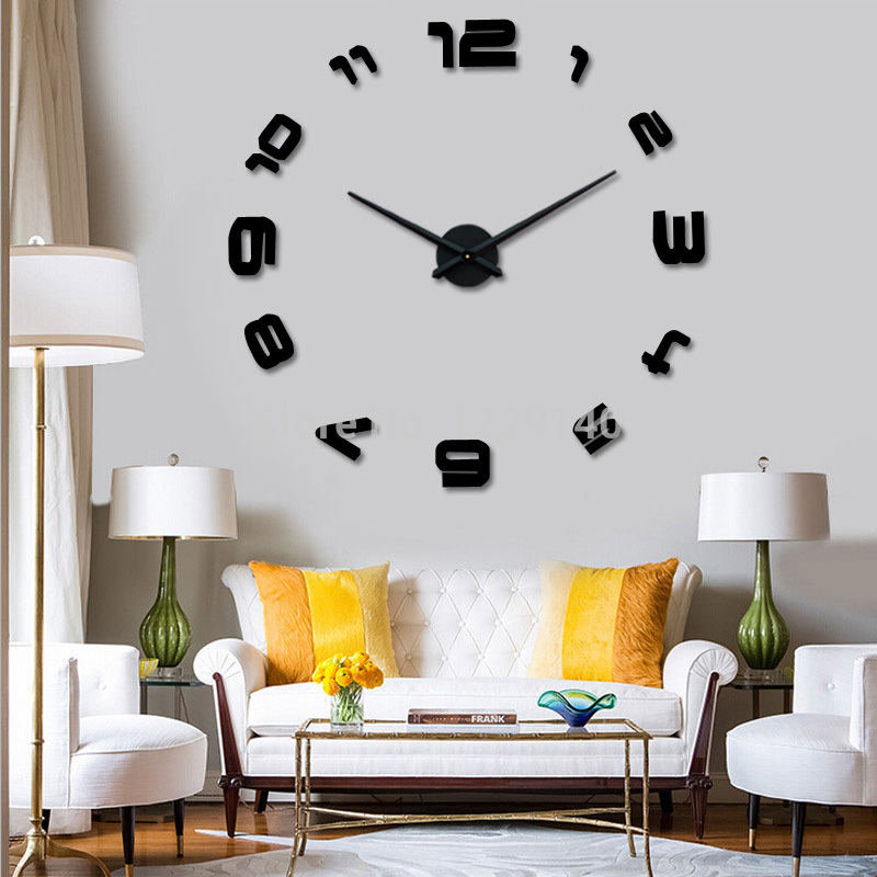 Modern art diy large wall clock 3d sticker design home office room decor black clock mechanism hands in wall clocks from home garden on aliexpress com