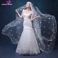 AOLANES Ivory 3 Meters Long Cathedral Bridal Veils Tulle Appliques 3D Flowers Wedding Veils Wedding Accessories 2018
