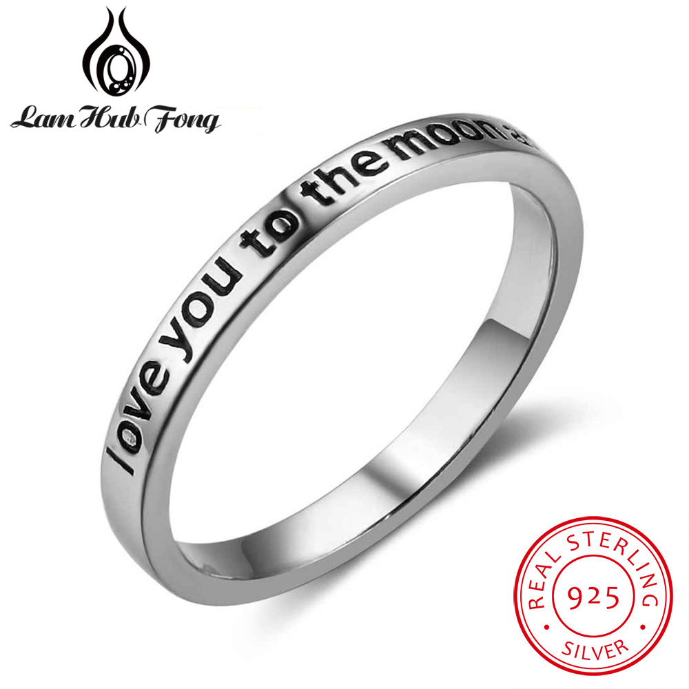 Hot sale I Love You To The Moon And Back 925 Sterling Silver Rings for Women Vintage Style Rings Accessories Good Jewelry Gifts usb flash drive 16gb a data c008 classic white blue ac008 16g rwe