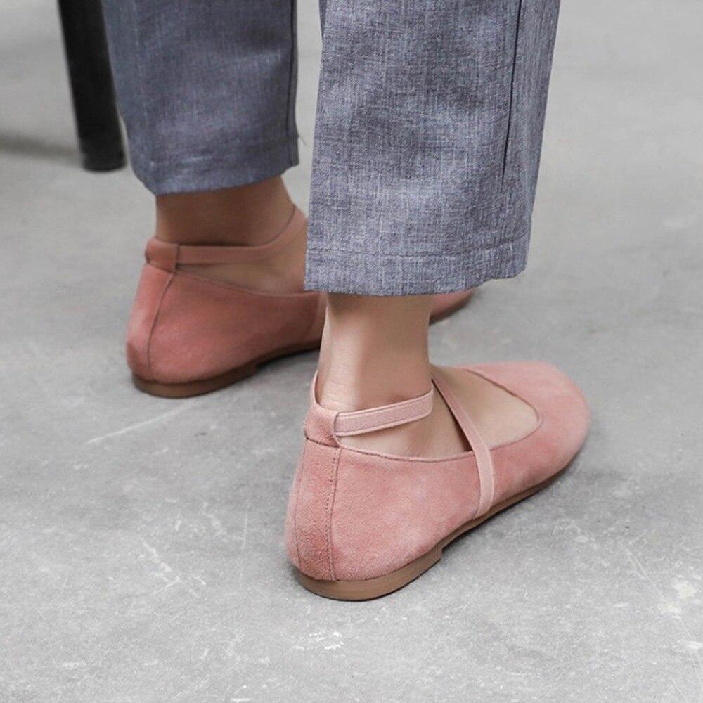 Chico Niño Ballet Señoras Slip on Cuero Casual Mujeres Pink Suave Rosa  Pisos Zapatos 2018 Cruzado Kvphan Otoño tied Gamuza Primavera Punta ... 02b4ae1e1440