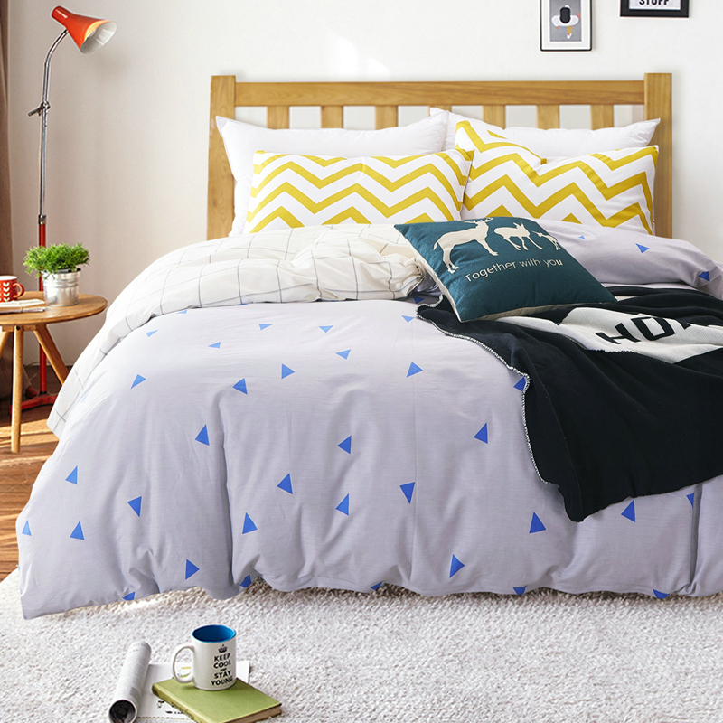 100 cotton nordic style bedding set 4pcs quilt cover white and blue geometric duvet cover queen. Black Bedroom Furniture Sets. Home Design Ideas