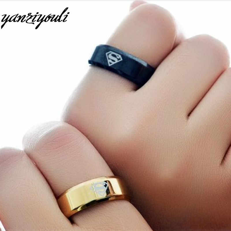 Anti Allergy Anime Hip Hop Rings Stainless Steel Superman Ring for Women Male Kids Boys Jewelry Gifts Yuzuk Wholesale Lots Bulk