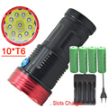 10T6 flashlight 18650 20000Lm 10x T6 waterproof recharger Torch light with 4x 18650 8800mAh battery Camping