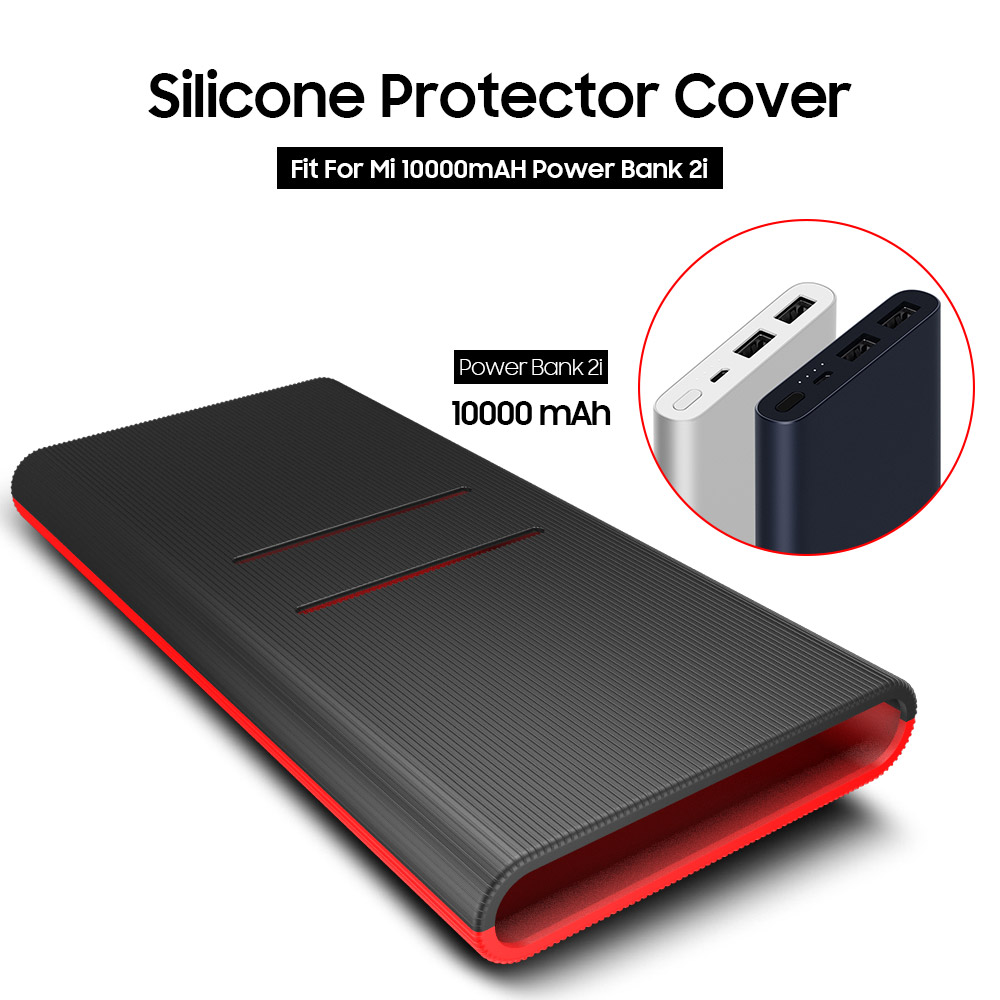 <font><b>Silicone</b></font> Protector <font><b>Case</b></font> Cover Skin Sleeve Bag for New <font><b>Xiaomi</b></font> Xiao <font><b>Mi</b></font> 2 10000mAh Dual USB Power Bank Powerbank Accessory colorful image