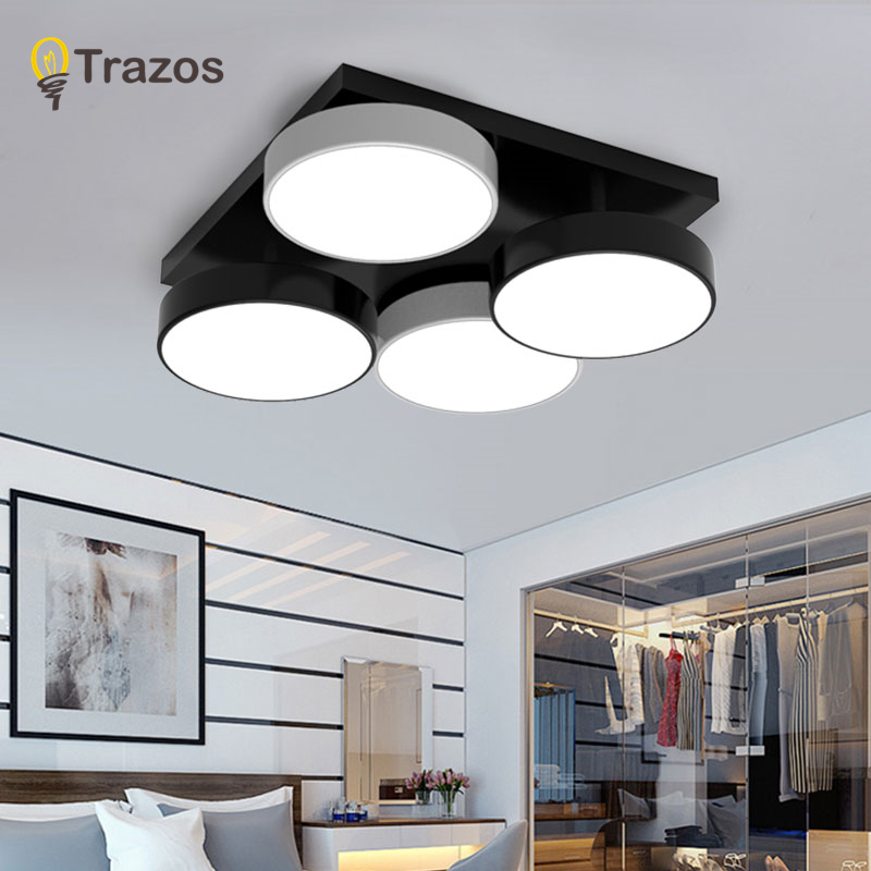 TRAZOS Acrylic Modern ceiling lights for living room bedroom White Simple Plafon led ceiling lamp home lighting fixtures 220v black and white round lamp modern led light remote control dimmer ceiling lighting home fixtures