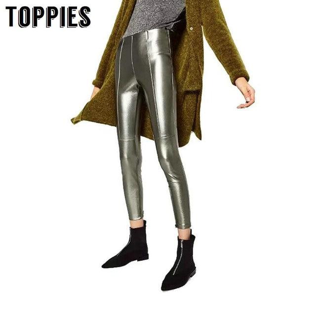 Новинка осенние женские леггинсы серебро тонкий леггинсы лоскутное шикарный черный Панталон Mujer женские брюки
