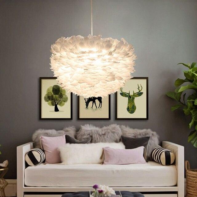 US $115.36 9% OFF|Moderne Weiße Feder Anhänger Lampe Parlor Hotelroom  Wohnzimmer Art Deco Hängelampe Pendelleuchten Suspension leuchte in Moderne  ...