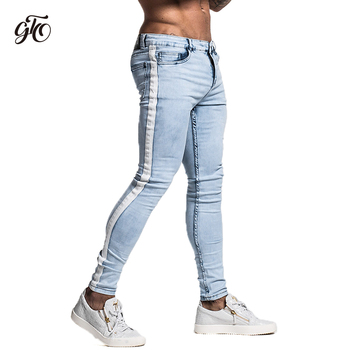 Gingtto Skinny Jeans For Men Tape Designer Distressed Stretch Jeans Brand Blue Skinny Jeans Ripped Slim Fit Ankle Tight zm33 фото