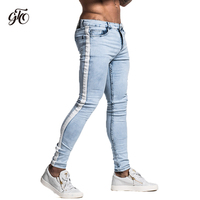 Gingtto Skinny Jeans For Men Tape Designer Distressed Stretch Jeans Brand Blue Skinny Jeans Ripped Slim Fit Ankle Tight zm33
