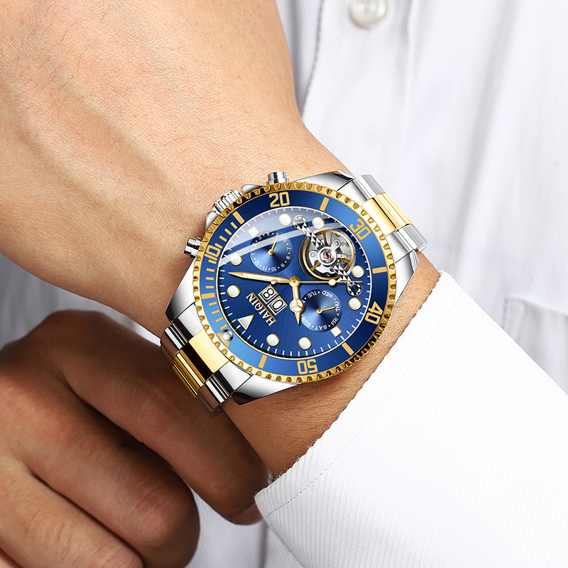 Reloj HAIQIN para hombre reloj mecánico automático Tourbillon reloj de pulsera militar de marca de lujo reloj deportivo para hombre-in Relojes mecánicos from Relojes de pulsera    2