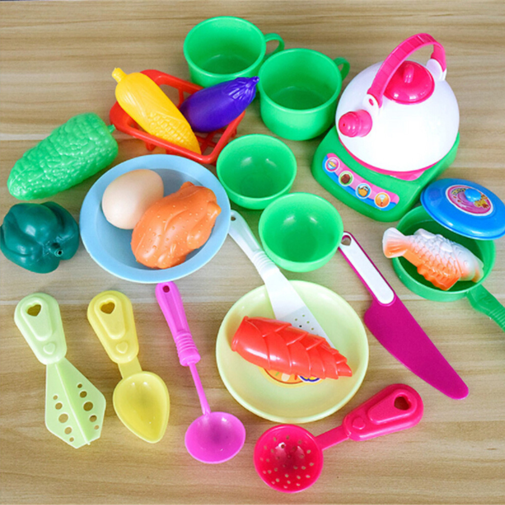 25 Pcs/ Bag Kids Pretend Play Toy Cooking Food Kitchen Pans Pots Dishes Toys Hot Sale