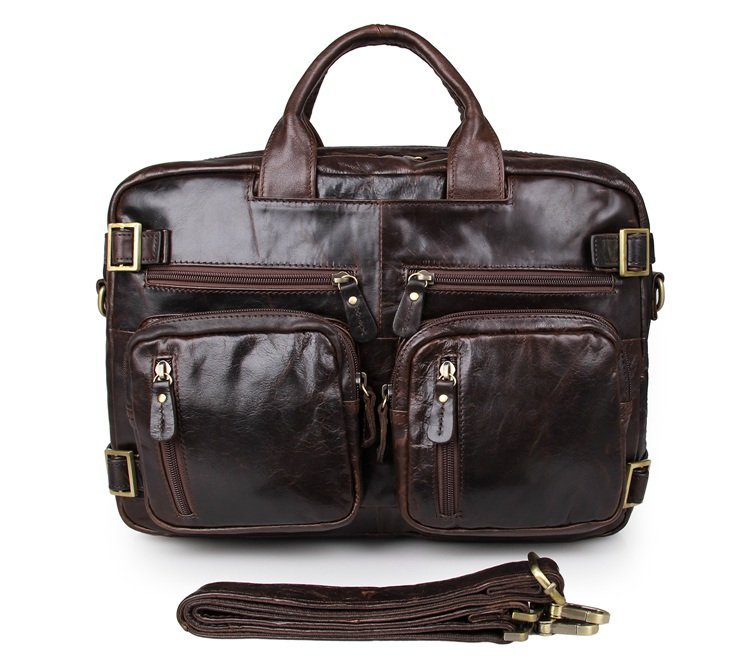 Free Shipping JMD Genuine Leather Applied Style Men Business Bag Chocolate Backpacks # 7026Q-1