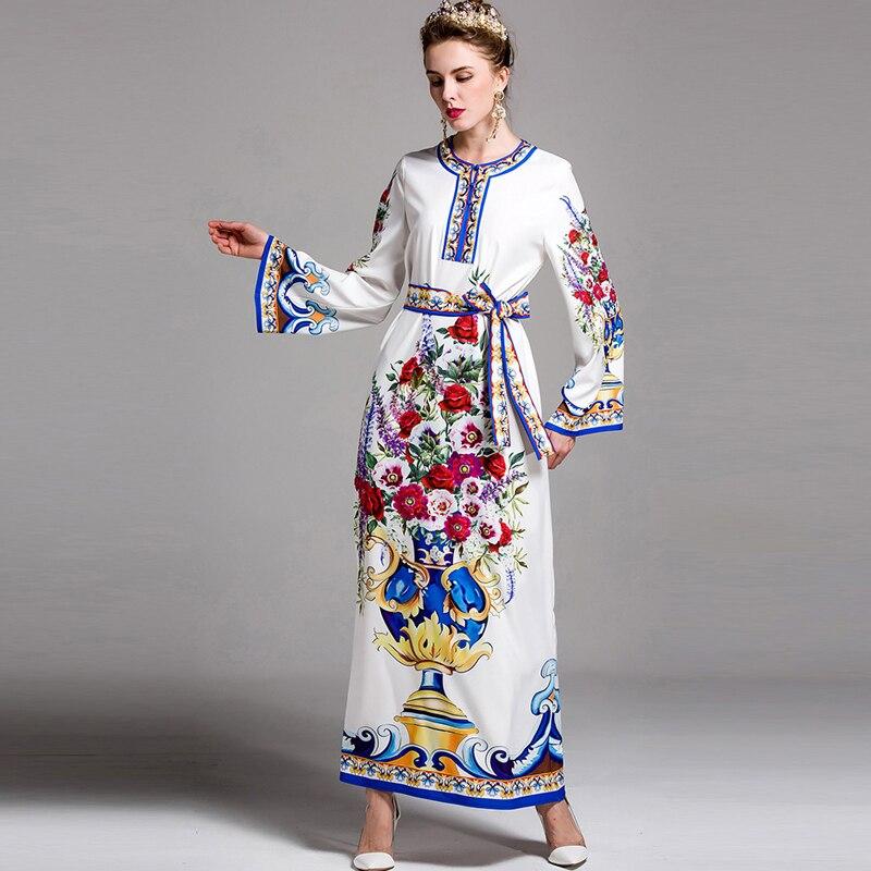 Longues Haute Qualité Designer Femmes Manches Dress Imprimer 2017 De Long Fleurs Maxi Lâche Rétro Superbe Vacances Date 8O0PknwX