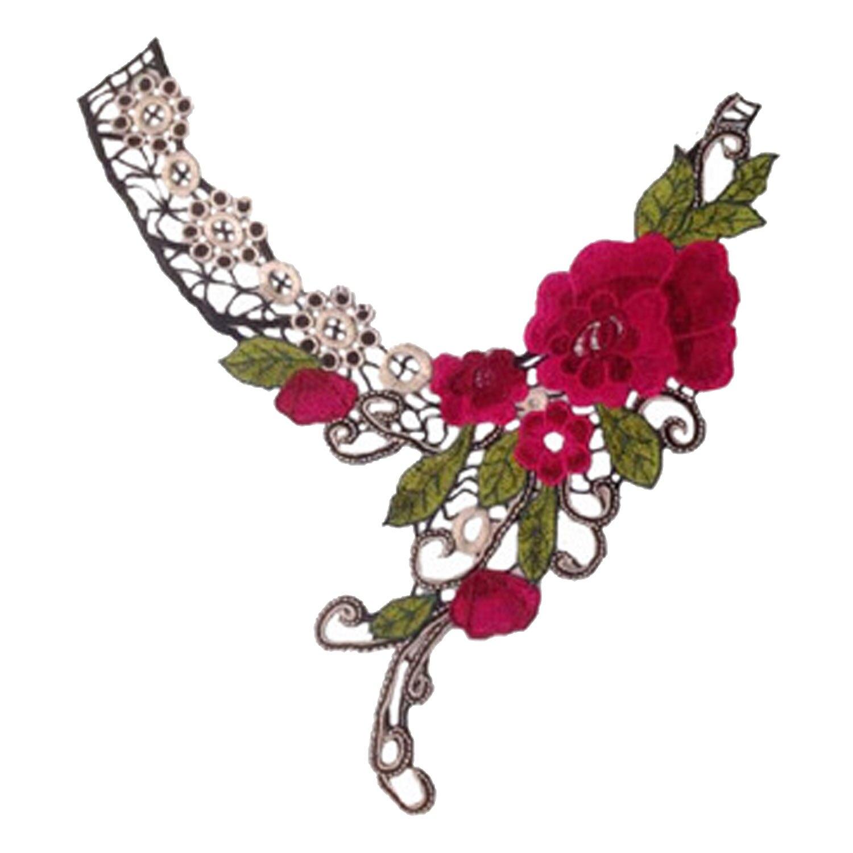 Fashion Plum Blossom Bentuk Leher Kerah Leher Bordir Menjahit Bekas Applique Kain Aksesori untuk Pakaian Home Textile Stage Pertunjukan Membungkus Hadiah Kerajinan Dekorasi-Internasional
