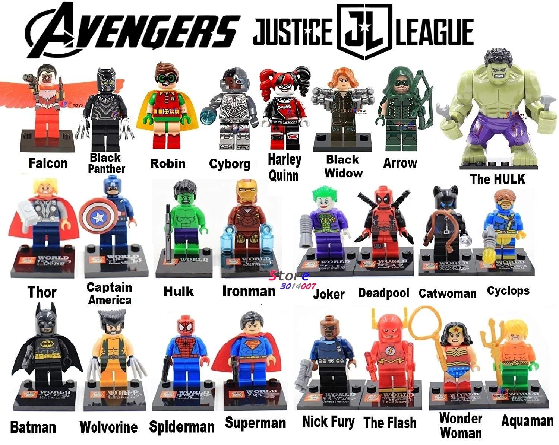 24 teile/satz heißer Marvel The Avengers DC Justice League Figuren Ironman spiderman Batman hulk Thor Die Flash Für Kinder Geschenke spielzeug